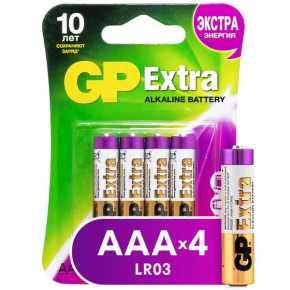 Батарея GP Extra Alkaline AAA (LR03), 4 шт. (24AX-CR4)