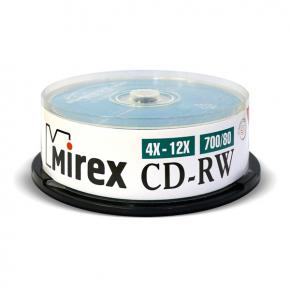 CD-RW диск Mirex 700Mb 12х Cake Box 25 шт. (202349)