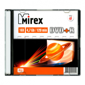 DVD+R диск Mirex 4.7Gb 16x Slim Case (202455)