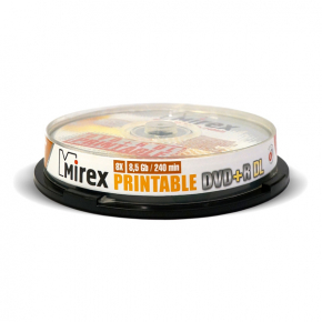 DVD+R диск Mirex 8.5Gb 8x Cake Box 10 шт. Printable DL (204268)