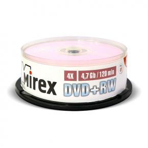 DVD+RW диск Mirex 4.7Gb 4x Cake Box 25 шт. (202592)