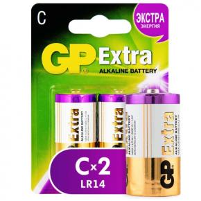 Батарея GP Extra Alkaline C (LR14), 2 шт (14AXNEW-2CR2)