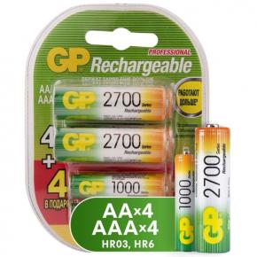 Аккумуляторы GP AA (HR6), 2700  мАч  4 шт. + 4 шт. ААА (LR03) 1000 мАч - 8 шт.(GP270AA/100AAAHCFR-2...